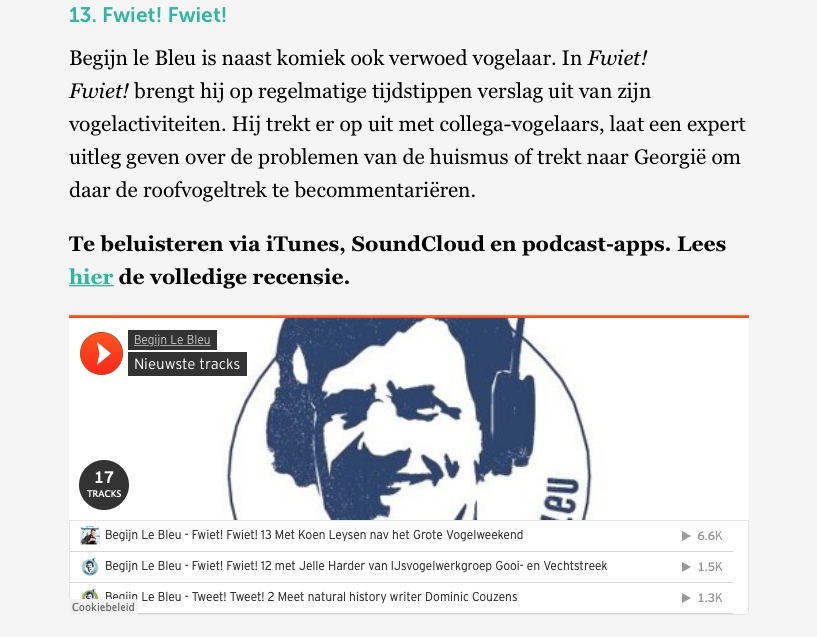 Fwiet! Fwiet! In Top 20 beste podcasts 2018