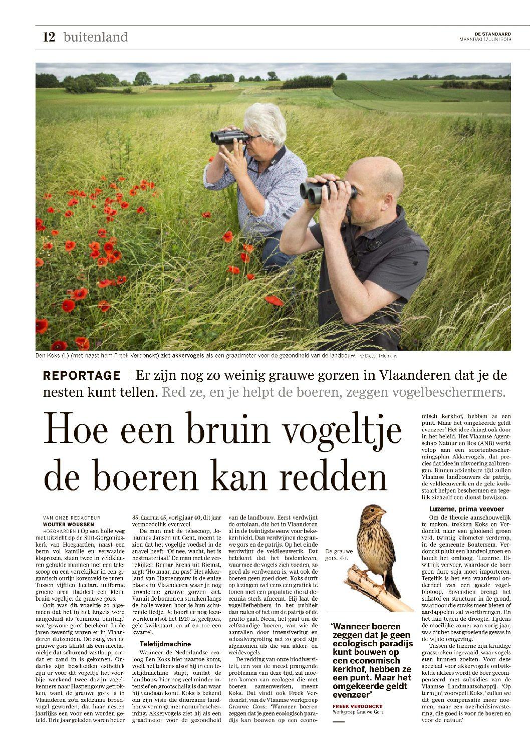 Hoe een bruin vogeltje de boeren kan redden – De Standaard 17 januari jl.